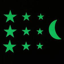 Glow in the dark 12pc Stars 1pc Moon Bedroom Kids Decor Galaxy Wall Art Stickers