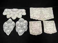 Lot of 6 Vintage Ivory Beige Doilies Lace Knit Crochet Small Large Medium Sets