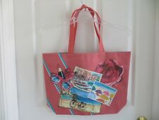 NEW - Lancome tote bag -- light coral peach color with beach prints