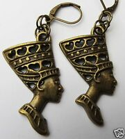 EGYPTIAN STYLE NEFERTITI  BRONZE TONE LARGE HANDMADE EARRINGS FOR PIERCED EARS