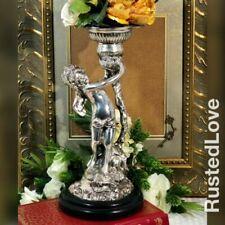 "1 Cherub Silver Electroplated Candle holder Victorian angel / Putti Boy 13"" TALL"