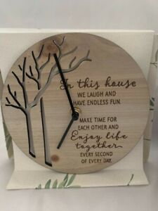 Inspirational Message battery operated Wooden Clock. Beechwood colour