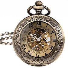 Hand Made Retro Bronze Skeleton Windup Mechanical Pocket Watch Chain Steampunk