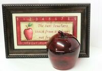 "Vintage Anchor Hocking Red Glass Apple Cookie Jar Canister & Lid  8"" x 6"""