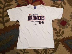Denver Broncos Reebok Champ Bailey #24 T-Shirt Men's XL White 100% Cotton