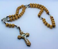 Saint benedict olive wood rosary with metal icons cord Necklace rosary hand made