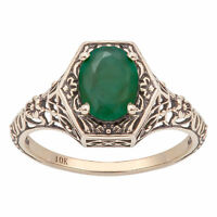10k Yellow Gold Vintage Style Genuine Oval Emerald Filigree Ring