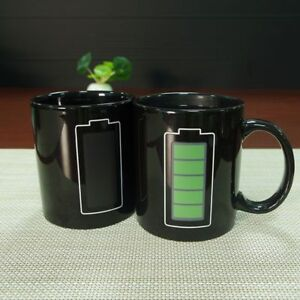 Battery Color Changing Mug Programmer Coffee Fuel Gift Cup Thermo Heat Sensitive