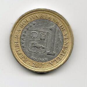 World Coins - Venezuela 1 Bolivar 2007 Bimetallic Coin Y#93 ; Lot-V21