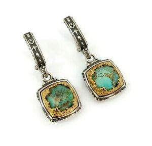 LASKARIDIS SK4832 Byzantine Earring Green Turquoise Solid Sterling Silver 925