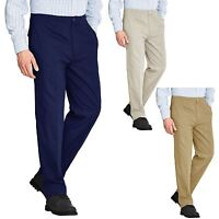 MENS ELASTICATED WAIST RUGBY TROUSERS PANTS WORK CASUAL SMART REGULAR PLUS SIZE