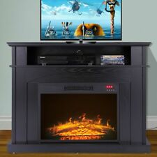 "TV Stand Media Fireplace 41"" Entertainment Storage Wood Console Electric Heater"