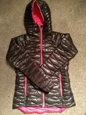 NEW Ladies Down Puffer Padded Bubble Jacket UK 8  800 Fill Black and Pink OEX