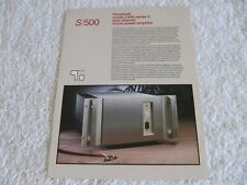 Threshold S/500 Stereo Amp Series II Brochure