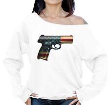 Gun USA Flag Women's Off The Shoulder Sweatshirt 4th of July Party