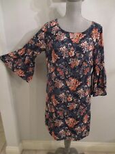 NWT LUXOLOGY SIZE 6 NAVY FLORAL FULLY LINED SHIFT DRESS w/ GATHERED BELL SLEEVES