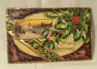 1910 Embossed Christmas Postcard A MERRY CHRISTMAS holly and berries