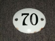 STYLISH GENUINE VINTAGE FRENCH ENAMEL NUMBER 70 DOOR / GATE ENAMEL PLAQUE!