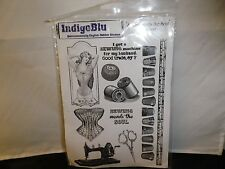 INDIGO BLU QUINTESSENTIALLY ENGLISH RUBBER STAMPS SEWING MENDS THE SOUL CD# SEWL