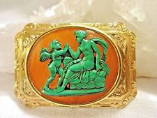 Antique Cameo Brooch - French 19th Century Malachite & Agate Cameo Brooch 18 kt