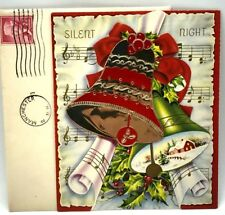 Vintage Silent Night Foil Bells Christmas Card 1950's
