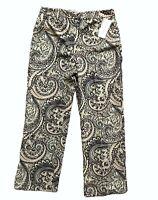 NWT Rafael Womens Pants Slacks Trousers 10 Green Paisley Polyester Lined