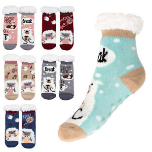 Girls Animal Pattern Thick Warm Socks Non Slipping Kids Fur Lined Slippers DN709