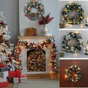 Christmas Wreath With LED Lights Xmas Hanging Garland Window Door Home Ornaments