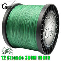 Super Strong Multifilament PE Braid Fishing Line 12Strands 300M 40lb 150lb Green
