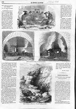 Mexique Mines d'Argent Indiens Mineurs Haut-Fourneau Fusion Minerai GRAVURE 1866