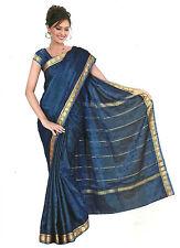 Fertig gewickelter Bollywood Sari Indien Regenbogen Royalblau in 3 Größen
