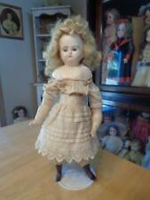 """Antique Wax /Wax Over Doll~Cloth Doll~Tlc~Glass Eyes~16""""~Tlc~"""
