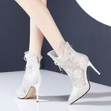 Womens Ankle Boots Floral Lace Ruffle Mesh High Heel Booties Pointed Toe Shoes