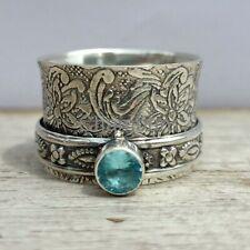 Blue Topaz Gemstone Ring 925 Sterling Silver Spinner Women Ring Size- 8.5 SC51