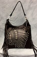 Raviani Indian Head Black Leather Hobo  Bag W/ Fringe & Silver studs #1426