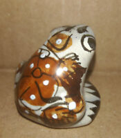 "Vintage Miniature Frog Ceramic Pottery Hand Painted Floral 1"" Tall"