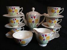 ART DECO A.E.JONES-PALISSY 15pce COFFEE SET 3020 HAND-PAINTED SPRING FLORAL 30's