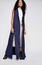 Fame & Partners X Free People blue Maxi Dress Vest Jacket Duster US 10 NWT