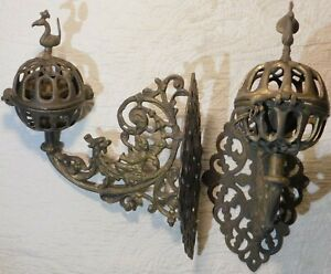 2 Antique Brass Wall Mounted Candle Sconce incense holders CHERUB GRIFFIN Dragon