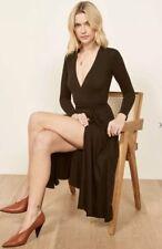 NWT Reformation Maurie Dress Size Small Wrap Dress Midi Length Black Long Sleeve