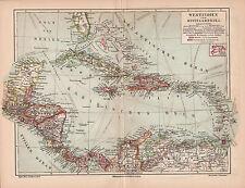 Antique map. WEST INDIES & CENTRAL AMERICA & ANTILLES. 1905