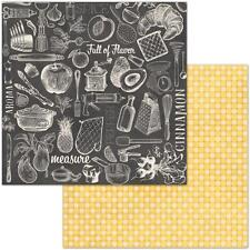 "Bo Bunny Family Recipes - CUISINE - 12x12"" d/sided scrapbooking paper"