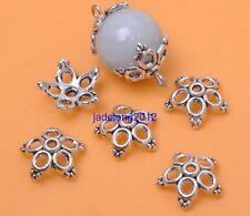 50pcs Tibetan Silver Flower Charm Beads Cap 12x4mm Jewellery Making C3030