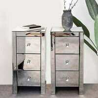 2PCS Glass Mirrored Bedside Tables Crystal Bedroom Side Drawer Storage Cabinet