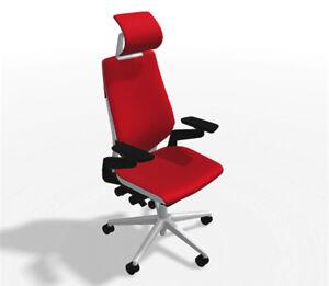 Steelcase Gesture Headrest Chair Platinum Light/Light Scarlet Elmosoft Leather