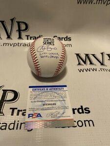 PSA Authentic Austin Barnes Auto World Series Baseball w/ 2020 WS Champs 50168