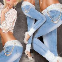 Sexy Women Skinny Ladies Blue Jeans Embroidery Denim Slim Trouser Size 6 8 10 12