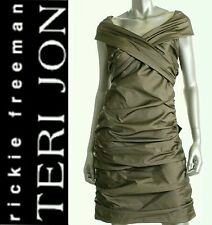 $490 Teri Jon Taupe Criss-Cross Ruched Sleeveless Party Cocktail Dress ~ 6 M3020
