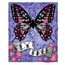 """Butterfly """"Fly Free"""" Fleece Throw Blanket"""