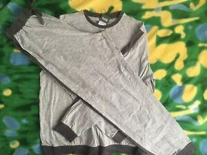 Men Clothes Set Gray Marl Black LS Top and Jogger Set Large Size Home Sleep Set